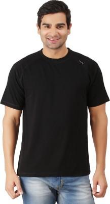 Lavos Solid Men's Round Neck Black T-Shirt