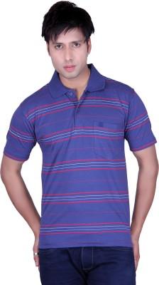 Update Striped Men's Flap Collar Neck Dark Blue T-Shirt