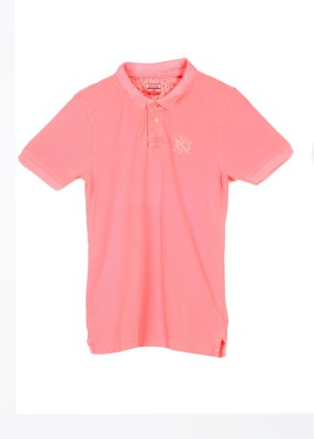 Arrow Sport Solid Men's Polo Pink T-Shirt