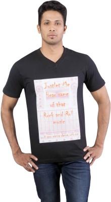 Oviyon Printed Men's V-neck Black T-Shirt