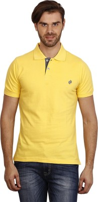 Crush on Craze Solid Men's Polo Neck Yellow T-Shirt
