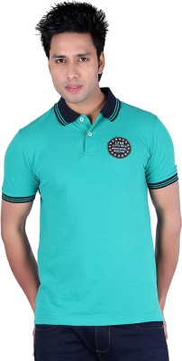 Austin Wood Solid Men's Polo Neck Green T-Shirt
