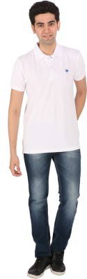 Tasho Zaara Solid Men's Polo Neck White T-Shirt