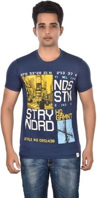 Rockstar Jeans Graphic Print Men's Round Neck Blue T-Shirt