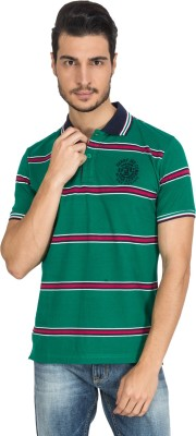 Derby Jeans Community Striped Men's Polo Neck Green T-Shirt