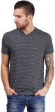 Foldin Striped Men's V-neck Black T-Shir...