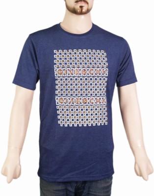 VR Designers Geometric Print Men,s Round Neck Blue T-Shirt