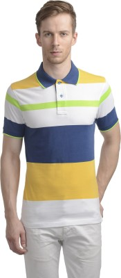 WRIG Striped Men's Polo Neck Yellow T-Shirt