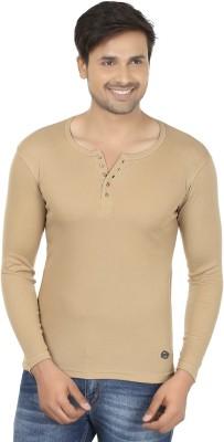 Fashcom Solid Men's Henley Beige T-Shirt