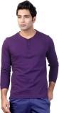 Top Notch Solid Men's Henley Purple T-Sh...