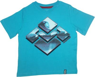 Mankoose Printed Boy's V-neck Blue T-Shirt