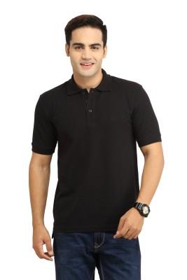 WallWest Solid Men's Polo Neck Black T-Shirt