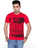 Menthol Solid Men's Round Neck Red T-Shi...