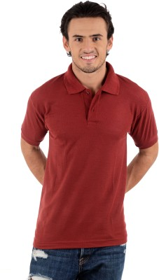 Blaze Solid Men's Polo Neck Maroon T-Shirt