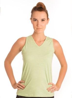 Bombay High Solid Women,s V-neck Light Green T-Shirt