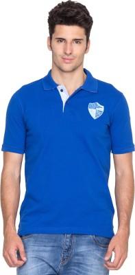 Fort Collins Solid Men's Polo Neck Blue T-Shirt