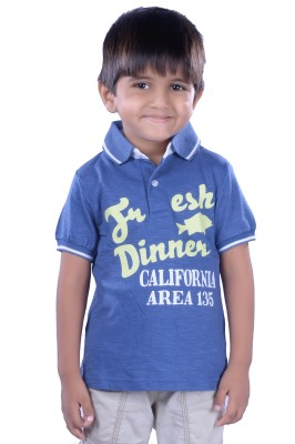 Colsa Graphic Print Boy's Polo Neck Blue T-Shirt
