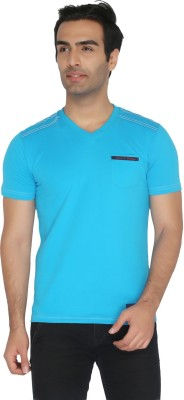 Again Vintage Solid Men's Round Neck Blue T-Shirt