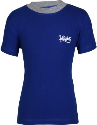 Cool Quotient Solid Boy's Round Neck Blue T-Shirt