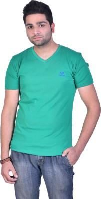 Colors and Blends Solid Men,s V-neck Green T-Shirt