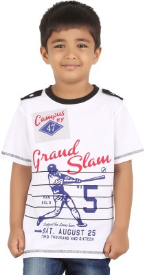 LASTBENCH Solid Boy's Round Neck White T-Shirt