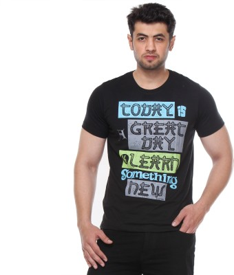 Rose Taylor Printed Men,s Round Neck Black T-Shirt