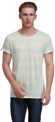Kotty Striped Men's Round Neck Grey, Yellow T-Shirt