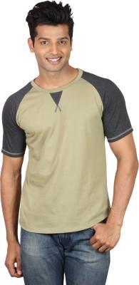 Poshuis Solid Men's Round Neck Green, Black T-Shirt