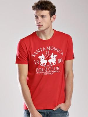 Santa Monica Printed Men's Round Neck Red T-Shirt