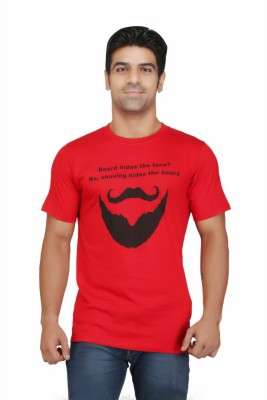 Crazeis Printed Men's Round Neck Red T-Shirt