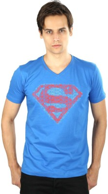 Planet Superheroes Graphic Print Men's V-neck Blue T-Shirt