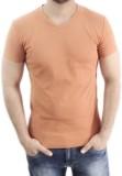 Myfizi Solid Men's V-neck Orange T-Shirt