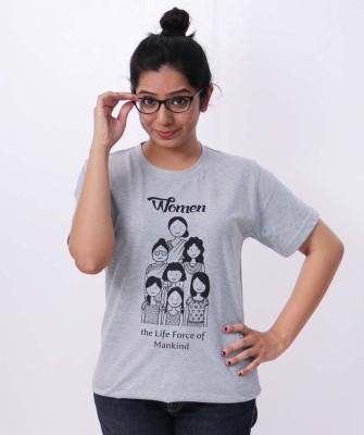 Menstrupedia Printed Women's Round Neck Grey T-Shirt