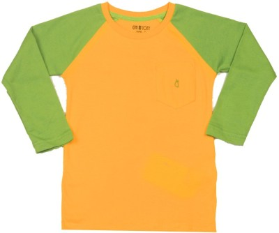 GINI & JONY Solid Boy's Round Neck Green, Yellow T-Shirt