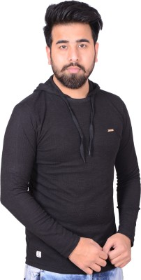 Zrestha Solid Men's Hooded T-Shirt