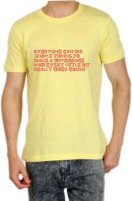 Teeswood Graphic Print Men's Round Neck Yellow T-Shirt
