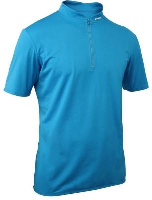Btwin Solid Men's Mock Neck Blue T-Shirt