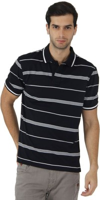 Fahrenheit Striped Men's Polo Neck Black, White T-Shirt