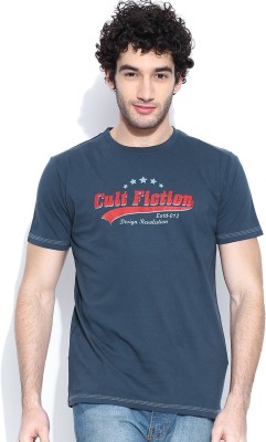 Cult Fiction Graphic Print Men's Round Neck Dark Blue T-Shirt