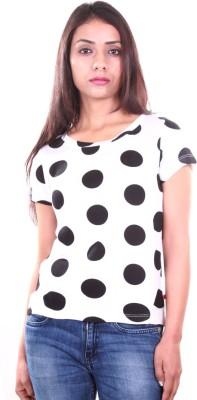 AR2 Polka Print Women's Round Neck White T-Shirt