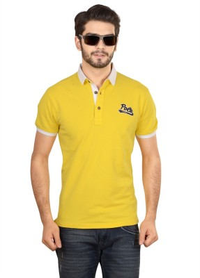 Glabrous Solid Men's Polo Yellow T-Shirt