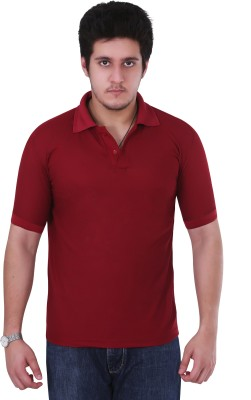 NGT Solid Men's Polo Neck Maroon T-Shirt