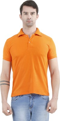 Tej Star Solid Men's Polo Neck Orange T-Shirt
