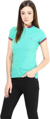 Calgari Solid Women's Polo Neck Green T-Shirt