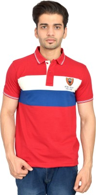 Urban Trail Embroidered Men's Polo Neck Red T-Shirt