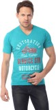 YOO Printed Men's V-neck Green T-Shirt