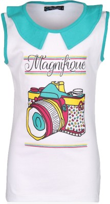Cool Quotient Printed Baby Girl's Round Neck White T-Shirt