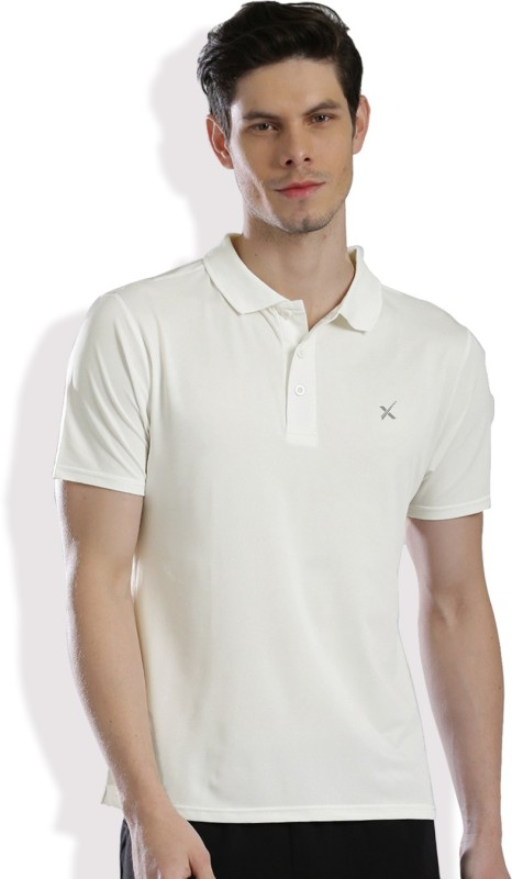 HRX by Hrithik Roshan Solid Men's Polo Neck White T-Shirt
