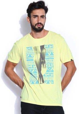 Quiksilver Printed Men's Round Neck Yellow T-Shirt