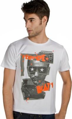 Provogue Printed Men's Round Neck White T-Shirt